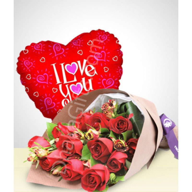 Send red rose with balloon gift to dhakabangladesh dhaka gifts send 12 red roses love u balloon to dhaka in bnagladesh negle Image collections