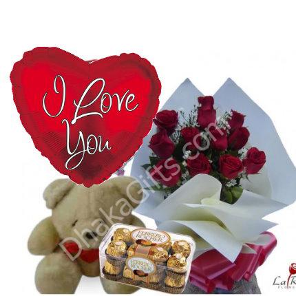 12 red roses bouquetbrown bearferrero rocher chocolate with i send 12 red roses bouquetbrown bearferrero rocher chocolate with i love u negle Image collections