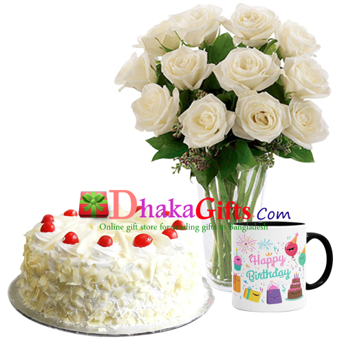 One Dozen White Roses In Vase Mug With Cake Send To Dhaka