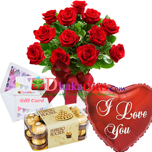 12 Red Roses In Vase Balloon W Chocolates