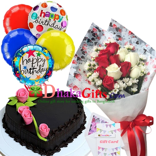 12 Pcs Roses In Bouquet 5 Balloon With Cake