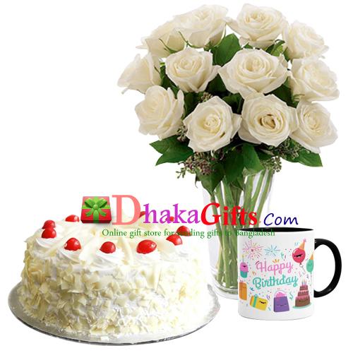One Dozen White Roses In Vase Mug With Cake