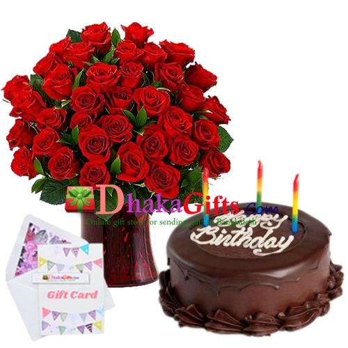 Send Special 3 Dozen Roses In Vase With Chocolate Cake To Dhaka Bangladesh