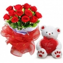 Valentine's Day Flower with bear in Dhaka