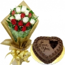 send valentine's heart shaped cakes and flower to bangladesh