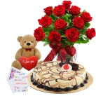 send birthday flowers, cake with bear to dhaka