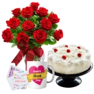 send flowers mug with cake to dhaka