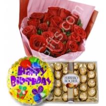 send 12 red rose chocolate birthday balloon to dhaka in bangladesh