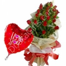 send 24 red roses in bouquet with i love you balloon to dhaka in bangladesh