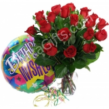 send 24 red rose vase with birthday balloon to dhaka in bangladesh