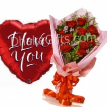 Send 12 Red Roses in Bouquet with I Love You Balloon to Dhaka in Bangladesh