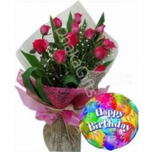 send 12 red roses with balloon to dhaka in bangladesh
