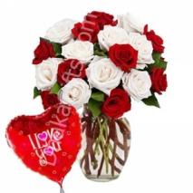 Send 12 Multi Color Rose & Balloon to Dhaka in Bangladesh
