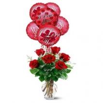 6 red roses vase with 6 pcs myler balloon send to dhaka