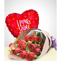 send 12 red roses and love you balloon to dhaka in bnagladesh
