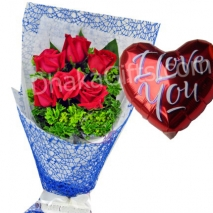 send to 6 red roses in bouquet with i love you balloon to dhaka