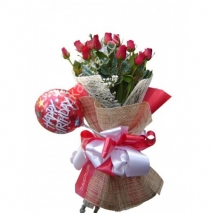 Send to 12 Roses in Bouquet with Happy Birthday Balloon to Dhaka