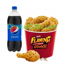 Send 8 pcs flaming crunch chicken with 1 liter pepsii to dhaka