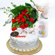 one dozen red roses bouquet, birthday mug with cake to dhaka
