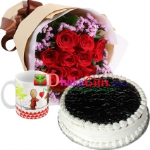 red roses bouquet and mug with cake to dhaka