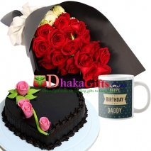 24 red roses bouquet and decorated mug with cake to dhaka
