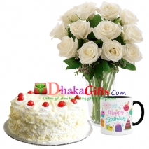 one dozen white roses in vase, mug with cake send to dhaka