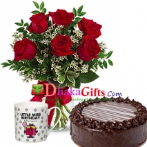 send 6 pcs red roses in vase and mug with cake to dhaka