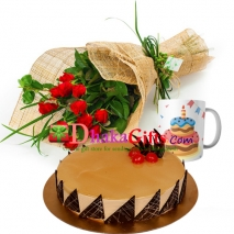 send one dozen red roses bouquet, mug with cake to dhaka