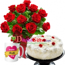 send one dozen red roses in vase and mug with cake to dhaka