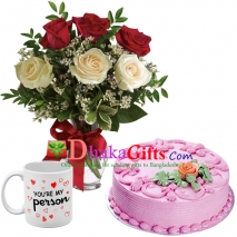 6 pcs roses in vase, mug with cake to dhaka