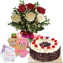 send 6 pcs roses in vase, joint bear with cake to dhaka