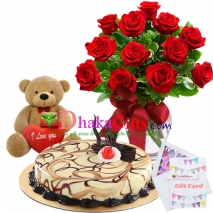 send one dozen red roses in vase, teddy with cake to dhaka