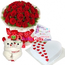 send three dozen red roses bouquet with joint bear, cake to dhaka