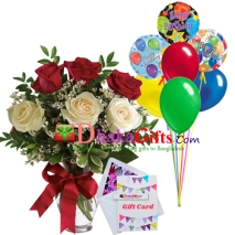 send 6 pcs roses in vase with 7 pcs balloon to dhaka