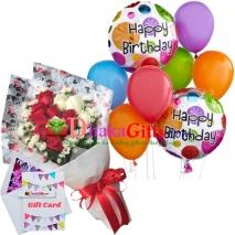 send 12 pcs roses in bouquet, 8 pcs balloon to dhaka