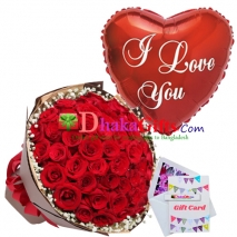 send 50 pcs red roses bouquet with balloon to dhaka
