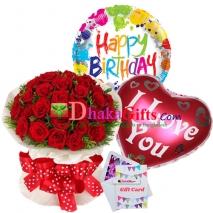 send three dozen red roses bouquet with 2 mylar balloon  to dhaka