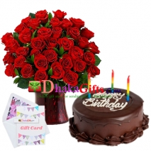 Send Special 3 Dozen Roses In Vase With Chocolate Cake To Dhaka Bangladesh