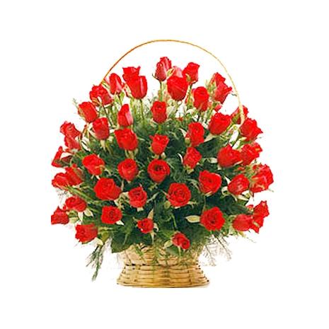Send 50 Roses Basket to Dhaka in Bangladesh