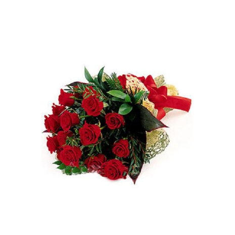 Send 12 Red Roses bouquet with green lovers to Dhaka in Bangladesh