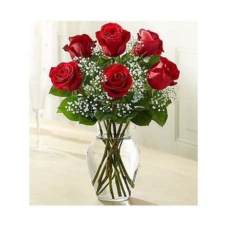 Send 6 Red Roses in FREE vase to Dhaka in Bangladesh