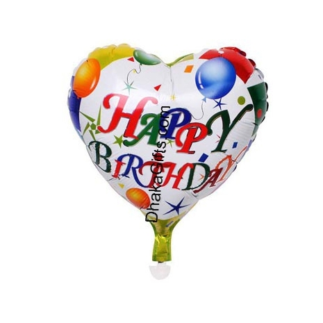 Send 1 piece heart shape mylar Birthday balloon to Dhaka in Bangladesh
