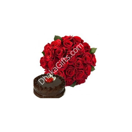 Send 24 Red Roses in Bouquet with Chocolate Cake to Dhaka in Bangladesh