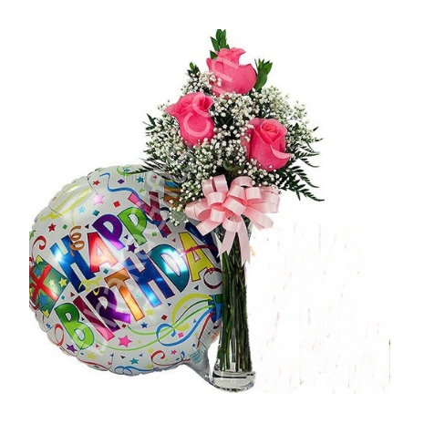 send to 3 pink roses in free vase with happy birthday balloon to dhaka