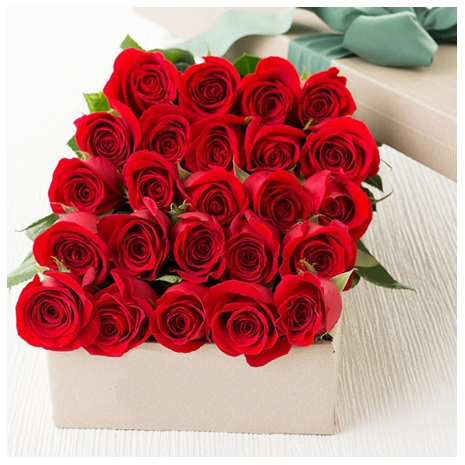 24 Red Roses in Box to Dhaka
