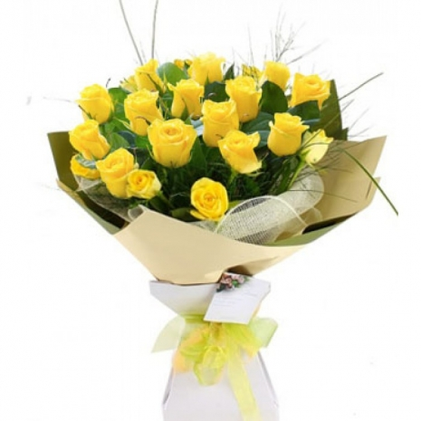 Send 24 Yellow Roses in Bouquet to Dhaka in Bangladesh