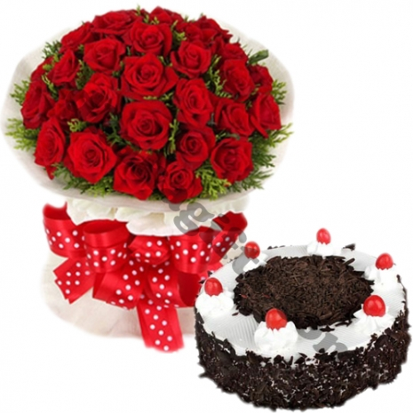 24 red roses with black forest round cake by well food