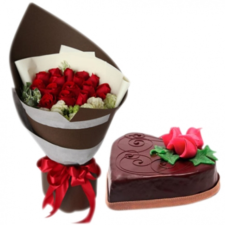 Send 12 Mixed Roses in Bouquet with Chocolate Cake to Dhaka in Bangladesh
