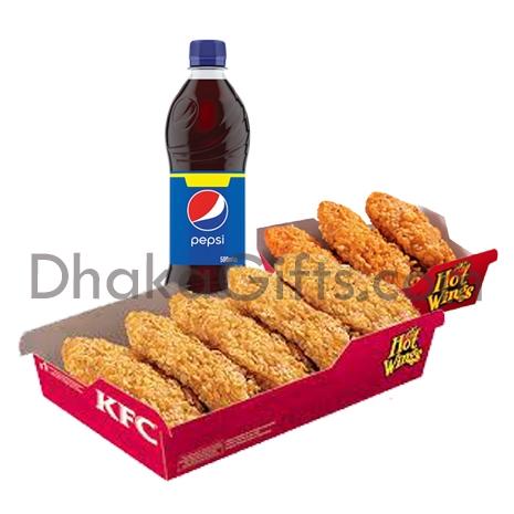send kfc 8 pcs crispy chicken with 1 liter pepsi to dhaka