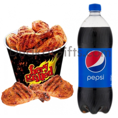 send 12 pcs fiery grilled chicken with 2 liters pepsi to dhaka